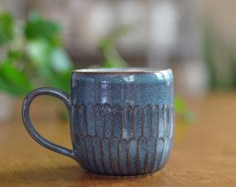 Blue Carved Mug 026
