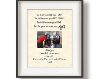 Youth Football Coach Gifts - Gifts for Football Coaches - Personalized - Football Coach Gift Ideas - Team Gift - 11 x 14 - Your Life