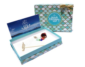 Beach Therapy Box - Real Sea Glass, Shells, and Sand - Desktop Beach - Miniature Zen Beach for Home or Office with Rake and Bucket