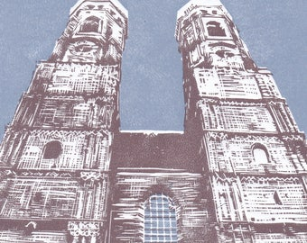 Munich, towers of the cathedral, Bavaria: handmade linoprint, multi coloured, numbered and signed