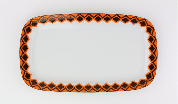 "Small vintage Melitta ""Hamburg"" platter retro pattern Orange German pottery"