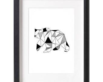 Geometric Bear Wall Art