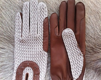 Riding Leather Gloves Crochet  Handmade Lambskin Gloves