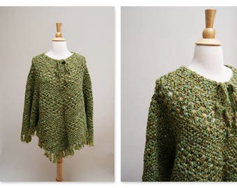 Vintage 70s Handmade Poncho 1970s Green Crocheted Cape Vintage Boho Hippie Gypsy Shawl