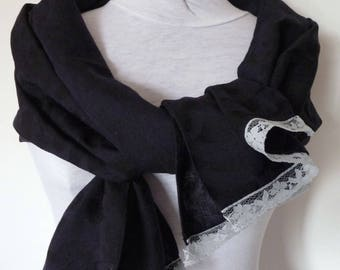 Scarf / stole Navy and lace
