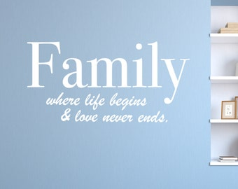 Where Life Begins - Vinyl Wall Decal Quote
