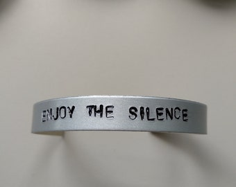 Depeche Mode, Enjoy The Silence, Bracelet, jewelry, cuff, handstamped with lyrics, engrave, Dave Gahan, for lovers