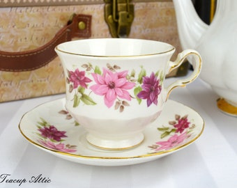 Queen Anne Vintage Teacup And Saucer Set with Pink and White Flowers, Wedding gift, Pattern 8545 Mother's Day, c. 1959-1966