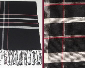 Handwoven Checkered Warm Woolen Shawl. Mens Shawl. Woolen Shawl in Black, White, Gray and Red