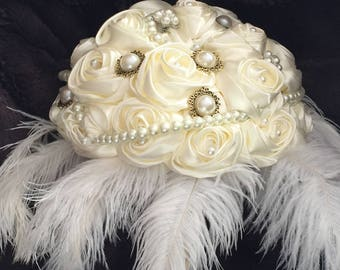 The Tickle My Feather Bridal Brooch Bouquet