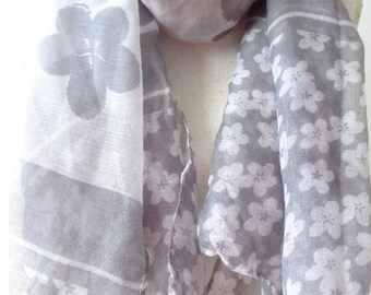 large scarf white and gray scarf, viscose scarf, summer scarf floral scarf  chicbychicScarves.
