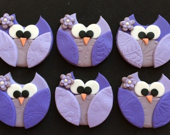 12 Owl Cupcake Fondant Toppers