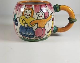 Vintage Majolica Ceramic Coffe Tea Mug Cup Signed F.S. Italy 320/381 Numbered