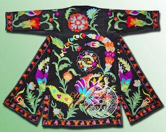 Ottoman Silk Embroidered Uzbek Chapan Light Coat Kaftan Robe From Uzbekistan Author's Work Ready To Wear 070
