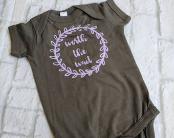Worth the wait shirt, worth the wait bodysuit, adoption shirt, I'm adopted shirt, gotcha day shirt, gotcha day bodysuit, coming home outfit