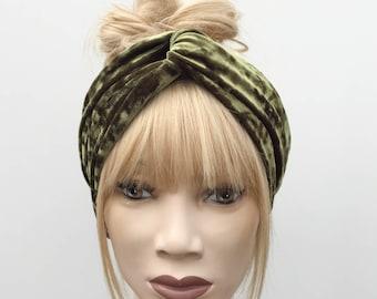 Moss green crushed velvet velour luxury turban twist headband