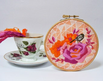Hand Embroidery Kit .DIY Kit. Embroidery Wall Art. Vintage rose,bird and geometric design. Modern embroidery. DIY gift .Hoop art. Craft Kit