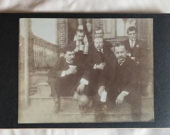 Funny antique cabinet card of men drinking and smoking