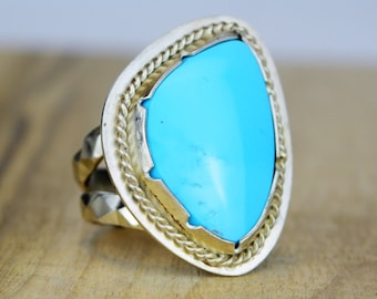 BEAUTIFUL Old Stock All Natural Untreated Sleeping Beauty Turquoise and Sterling Silver Southwest Style Ring size 8 3/4