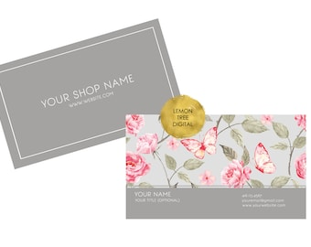Floral business card, shabby chic business card, printable business card, custom business card design, shabby chic grey