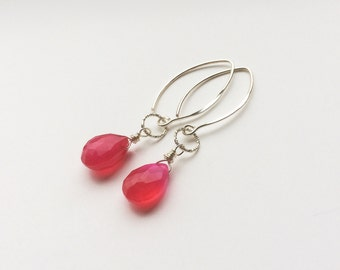 Pink Quartz 925 sterling silver earrings/Earrings