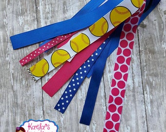 Blue and Pink Softball Ponytail Streamers,Pink and Blue Softball Ponytail Streamers,Softball Streamers,Ponytail Streamers,Softball