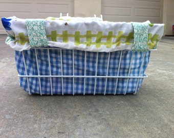 LIMITED EDITION Reversible Bicycle Basket Liner Tote Bag: Turquoise, Blue Gingham and Vegetables