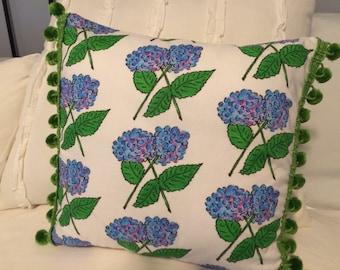 Watercolor hydrangea pillow