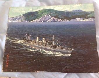 Vintage 1948 Painting of Naval Ship USS General W.A. Mann