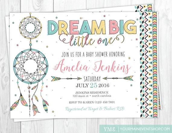 Dreamcatcher Baby Shower Invitation • Boho Tribal Dream Catcher Baby Shower Invite Printable • Dream Big Little One Star Baby Shower