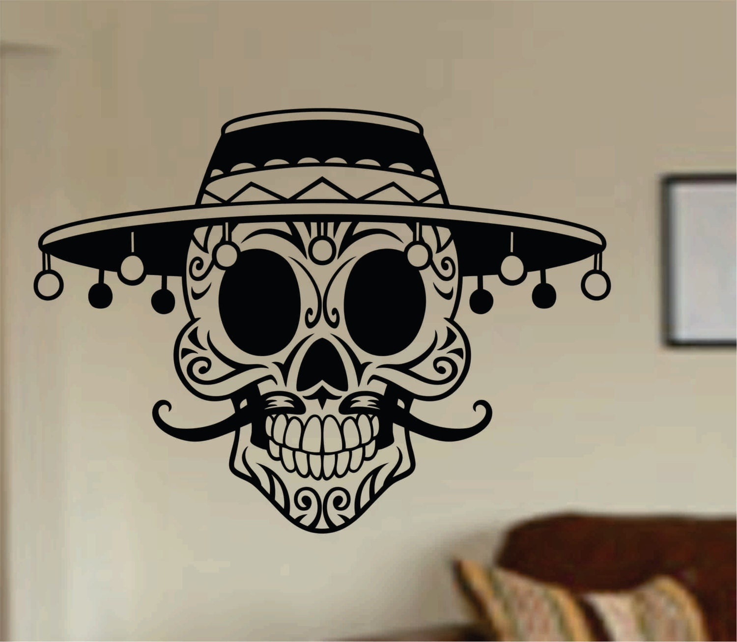 Mustache Wall Stickers Mustache Day Of The Dead Skull Wall Vinyl Decal Sticker Art