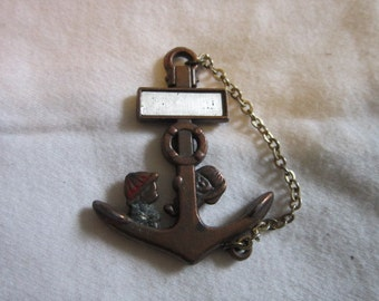 Vintage Comical Good Luck Ship 's Anchor Necklace Pendant