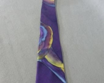 """Hand Painted Silk Necktie """"Purple Rose V"""""""
