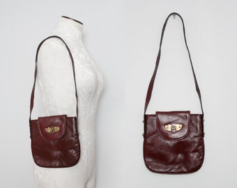 Etienne Aigner Purse. 70s Boho Bag. Burgundy Leather Bag. Vintage Shoulder Bag. Oxblood Leather Bag. Small Leather Bag. Unique Leather Bag.