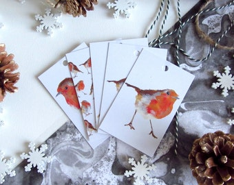 Gift Wrapping Christmas Tags, British Robin Illustrated Gift Tags
