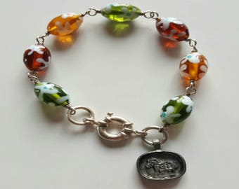 Multicolored Lamp Work Glass Beaded Bracelet with Sterling Silver