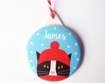 Personalised Christmas Cat Decoration - Black and White Cat Christmas Tree Ornament- 6 colours