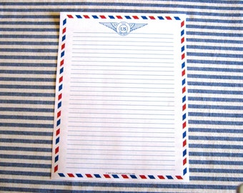 """Designer Stationery Air Mail 8.5""""x11"""" - Ruled"""