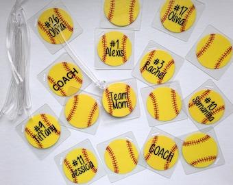 Softball Bag Tags Softball Gifts Softball Team Bag Tags Softball Party Favor Softball Bag Tags Orders 15 or more only BULK order listing
