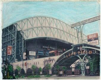 MLB Houston Astros Minute Maid Park Left Field Gate Polaroid Transfer Photo