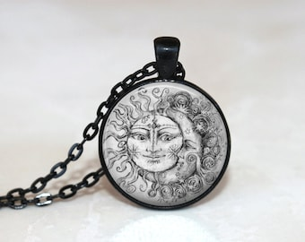 GlassTile Necklace Sun and Moon Necklace Glass Tile Jewelry Celestial Jewelry Sun Jewelry Moon Jewelry Celestial Necklace Black and White
