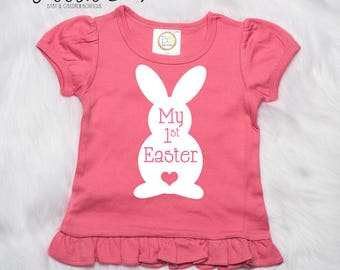 Bunny Rabbit Shirt, Easter Egg Hunting Shirts, Personalized Easter Shirt, My 1st Easter Shirt, Easter Outfit, Easter Bunny Outfit, Pink P20