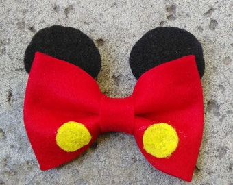 Mickey Mouse Inspired Bow, Mickey Mouse, Disney, Hair Bow, Hair Clip, Girls Bow, Clip On Bow Tie, Unique Bows, Teen Bows