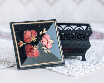 Small jewelry box_black red yellow_wedding rings_floral inlay_wooden incrustation_red flowers_traditional jewelry casket_Scandinavian style