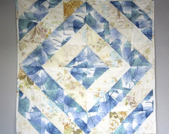Retro Blue Willow Vintage Sheet Patchwork Quilt