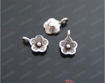 20 antique silver 9 MM E15309 flowers charms
