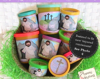 Religious Easter Basket Party Favors, Christian printable, Easter labels for Play Doh® cans, basket stuffers, non-candy treats for kids