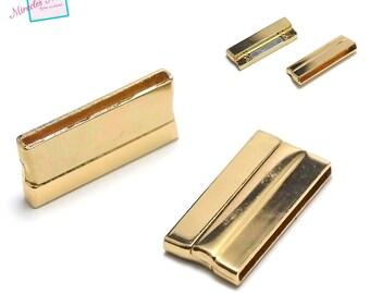 1 fermoirs magnétiques 32x20x6 mm ,001,doré,pour cuir et cordon