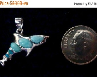 "MEMORIAL DAY SALE Awesome Dominican Larimar/Australian Blue Fire Opal ""Great White Shark"" Pendant Handmade Sterling Silver Setting"
