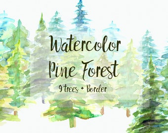 Watercolor Pine Trees Clip Art